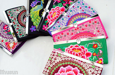 Wholesale10pcs Chinese Handmade Ethnic Retro Embroiderd Clutch Purse Wallet