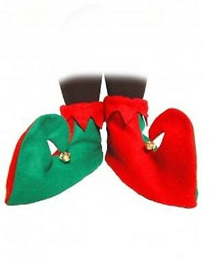 Red  Green Elf Shoes Boots For  Christmas Elf Pixie Santa X-mas Fancy Dress