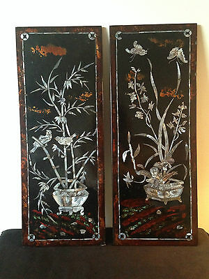 Chinese Wooden Laquer Wall Hangings With Mother Of Pearl Inlay