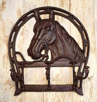 Cast Iron Horse Head & Horseshoe Wall-Mount Vintage Coat/Towel Rack Holder