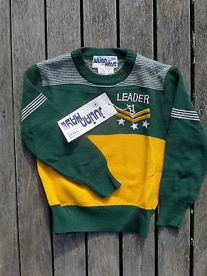 Vintage retro NWT true 70s  age 3 - 4  boys jumper NOS as new green gold knit