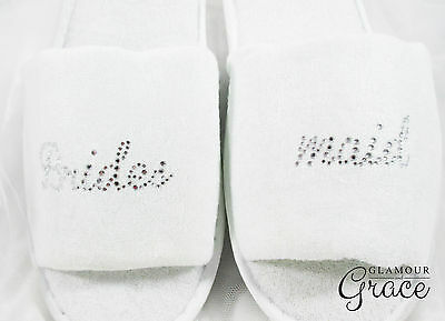 BRIDESMAID bridal party wedding personalised customised slippers hens silver