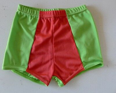 Vintage retro true 60s unused Boys swimsuit  age 6 - 7 yo trunks green NOS