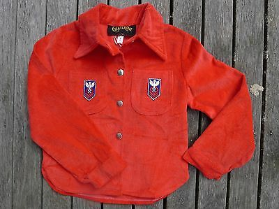 Vintage retro 60s unused childrens 2 yo red velvet jacket coat NOS tags boy girl