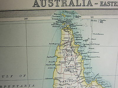 1921 Large Map ~ Australia Eastern Section Queensland Victoria New South Wales