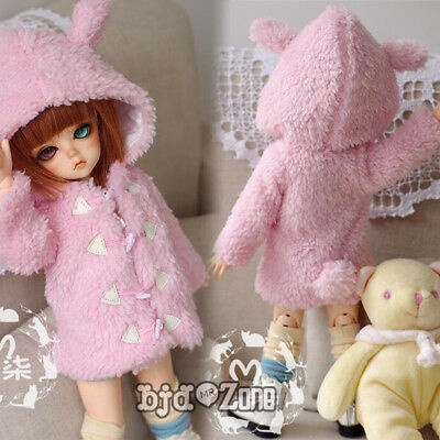 Hot New 1/4 1/6 BJD SD YOSD AI Clothes Lotita Pink/Beige Wool Cap Coat/Outfit