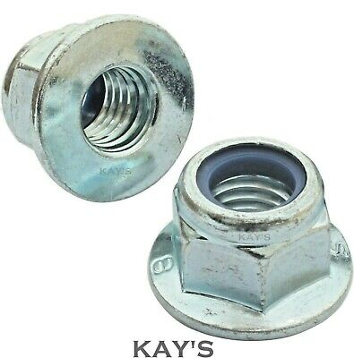Flanged Nyloc Nuts, Flange Nylon Insert Locking Nut Zinc Plated M5 M6 M8 M10 M12