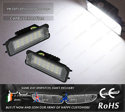2x Canbus LED No Error Free VW Golf MK4 MK5 MK6 Polo Passat Licence Plate Lights