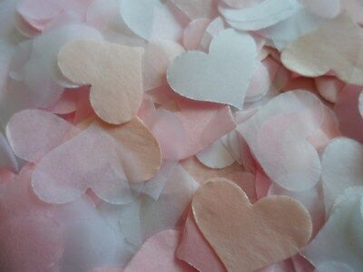 1500 Pink and White Tissue Hearts/Wedding Confetti/Party/Celebration/Decoration