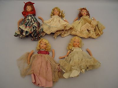 5 Early Nancy Ann Storybook Bisque Dolls NEED REPAIR Blondes Redheads