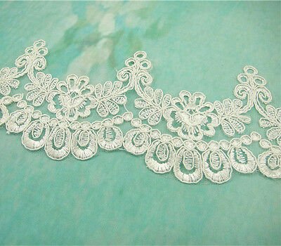 Bridal Lace Trimming Embroidered Trim Ribbon Ivory Wedding Floral Lace Edging