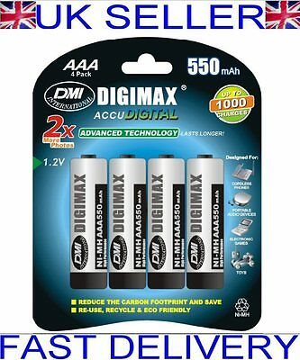 4 x Digimax AAA LR3 UM4 550 mAh NiMH Rechargeable Batteries ACCU DIGITAL SALE