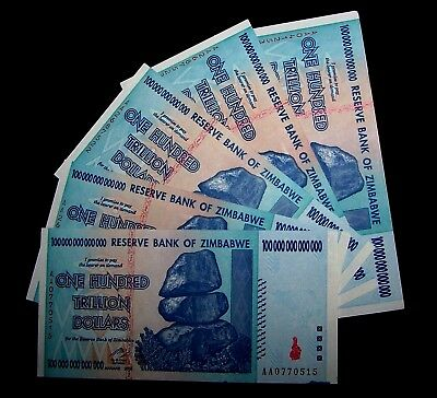5  x Zimbabwe 100 Trillion Dollar banknotes-about UNC money currency