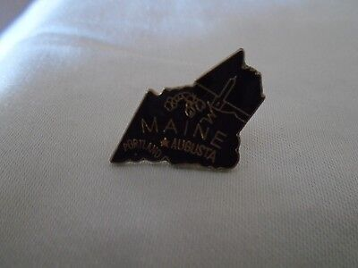 Vintage State of Maine Pin Black
