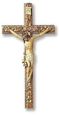 """Crucifix Traditional Catholic Ornate Hand Painted Resin 13"""" Tall Boxed"""