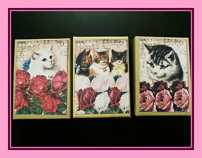 Set Of Three Postcard Kitten Gift Boxes - Vintage Looking Cats And Kittens