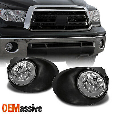 Fits 07-13 Tundra Clear Bumper Fog Lights W/Covers, Switch & Wiring Left+Right