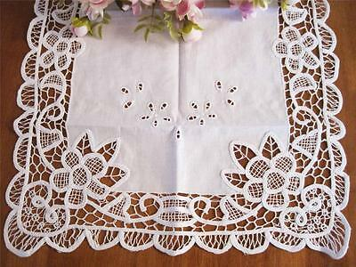 Elegant Flower Embroidery Cutwork Batten Lace White Cotton Table Runner
