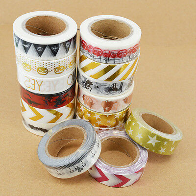 Metallic Gold Silver Diagonal Craft Halloween Christmas Washi Tape New A