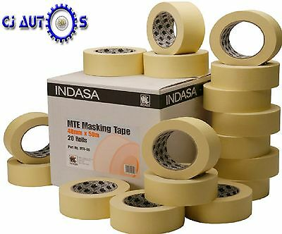 "Indasa 48mm Low Bake Masking Tape 2"" Box of 20 Rolls High-Temp Upto 80C MTE48"