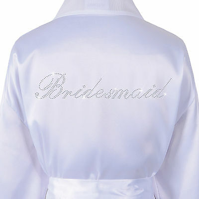 Wedding Day Rhinestone Bridesmaid Satin Bridal Bathrobe Kimono Dressing gown
