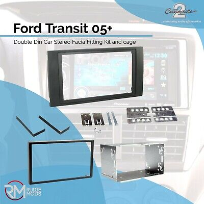 Ford Transit 05 on Black Double Din Car Stereo Fitting Kit Facia CT23FD01