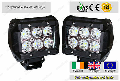 "2x 18W 4"" Spot Beam CREE Offroad LED Work Light Lamp 12v 24v Truck Jeep 4WD"