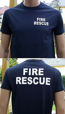 FIRE RESCUE T-Shirt in marineblau / Text in weiß, Größe S bis 4XL