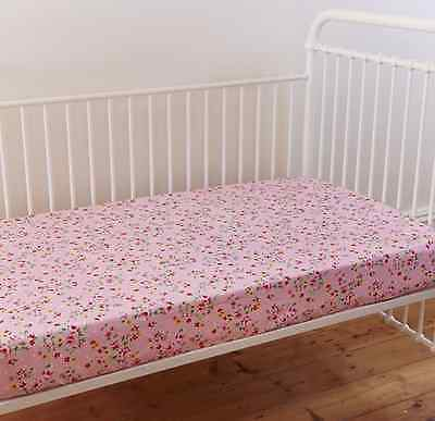 Alice Pink Floral Shabby Chic Baby Girl Cot Fitted Sheet Linens N Things