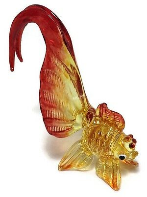 Tiny Crystal Goldfish Hand Blown Clear Glass Art Figurine Animals Collection