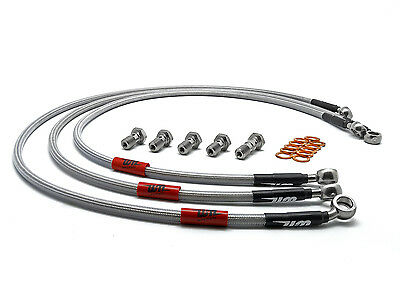 Wezmoto Front & Rear Standard Hoses Braided Brake Lines Honda Grom 2013-2015