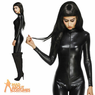 Ladies Fever Miss Whiplash Costume Catsuit Black Halloween Fancy Dress Outfit