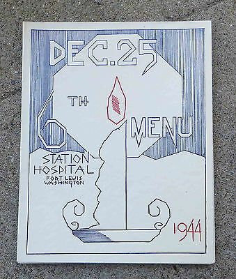Vintage WW2  Dec 25 1944 Christmas Menu 6th Station Hospital Fort Lewis Wa