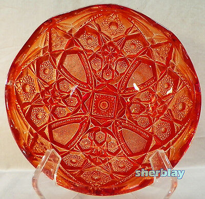 "Vintage Heavy Carvival Flashed Pressed Glass Crystal Bowl Marigold 8"" Diameter"