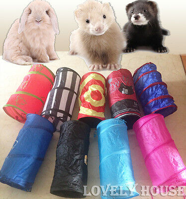 Foldable Pet Rabbit Ferret Guinea Pig Fun Tunnel Small Animals Training Toys