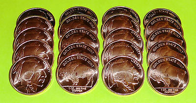 20 New Buffalo Nickel Coins • 1 oz each .999 Copper Bullion • Indian Head