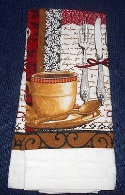 Coffee Cup French Cafe Style Dish Kitchen Hand Guest Towel
