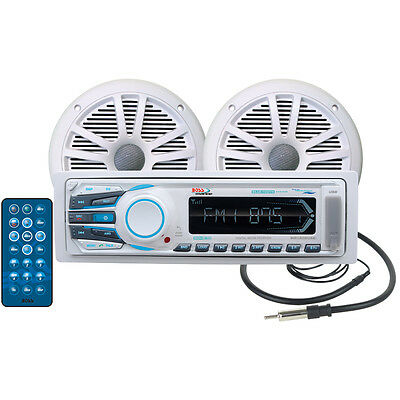 """BOSS AUDIO Boat Marine STEREO PACKAGE: RECEIVER 2-6.5"""" SPKRS,ANTENNA BLUETOOTH"""