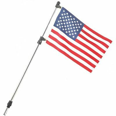 """Boat Us Usa Flag & Pole Combo 3/4"""" Telescoping Pole Fits In Sternlight Base"""