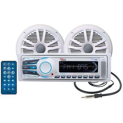 """BOSS AUDIO Boat Marine STEREO PACKAGE: RECEIVER 2,6.5"""" SPEAKERS,ANTENNA MCK1306W"""