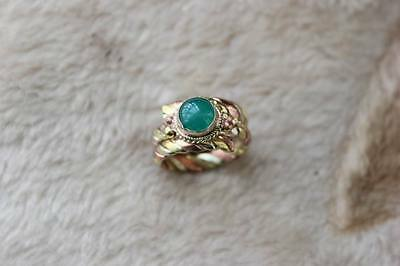RG245 Ethnic Tibetan Nepalese Handmade Braided 3 Color Copper Green Jade Ring