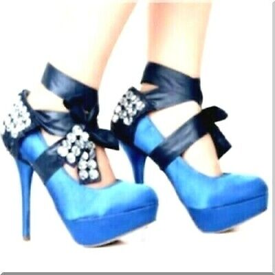 Heel Covers - Pair Crystal  + Ribbon Blue Decoration Fit All Sizes Shoe Imported
