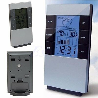LCD Electronic Temp Humidity Weather Forecast Clock Luminous Digital Hygrometer