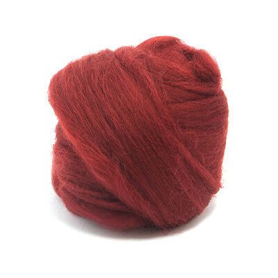 50g DYED MERINO WOOL TOP LOGANBERRY RED DREADS 64's SPINNING FELTING ROVING