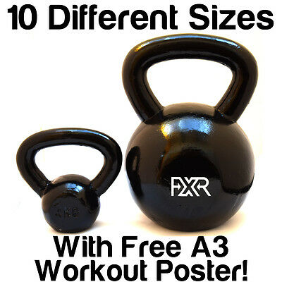 Fxr Sports Cast Iron Kettlebell Strength Training Home Gym Fitness 4-32Kg