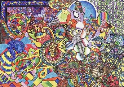 "Psychedelic Trippy Art Fabric Poster 18/"" x 13/"" P12"