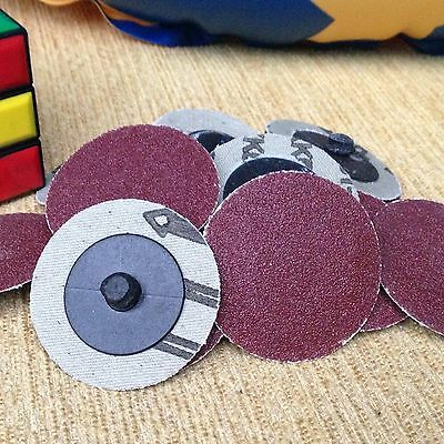 "50 Pcs 2"" Roloc R Type Roll Lock Sanding Abrasive Disc Cookie 60 Grit w/"