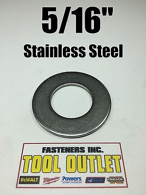 """(100) 5/16"""" Stainless Steel Flat Washers (18-8 Stainless) 3/4"""" OD / .050 Thick"""
