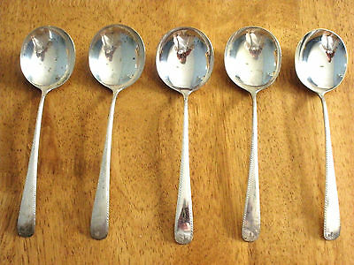 Antique DURGIN Sterling DOLLY MADISON ENGRAVED 5 Round Bowl Gumbo Spoons NM 251