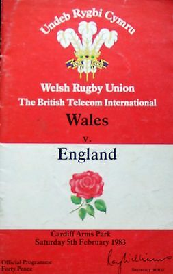 Wales v England 5/2/83  Rugby Union Programme